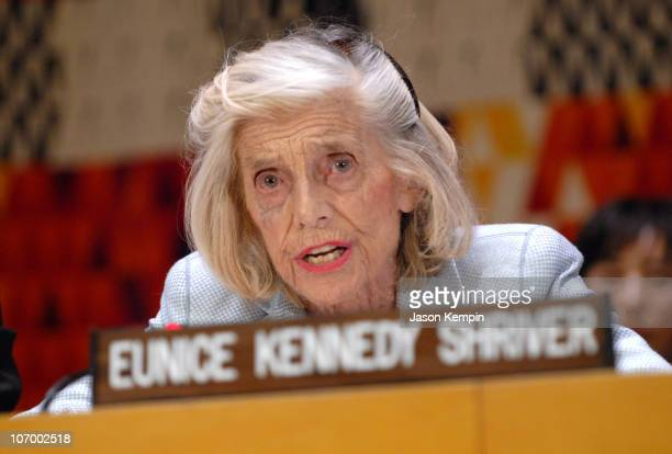 Eunice Kennedy Shriver during Special Olympics Founder Eunice Kennedy Shriver Addresses The 'Special Olympics For Social Harmony' Forum November 10...
