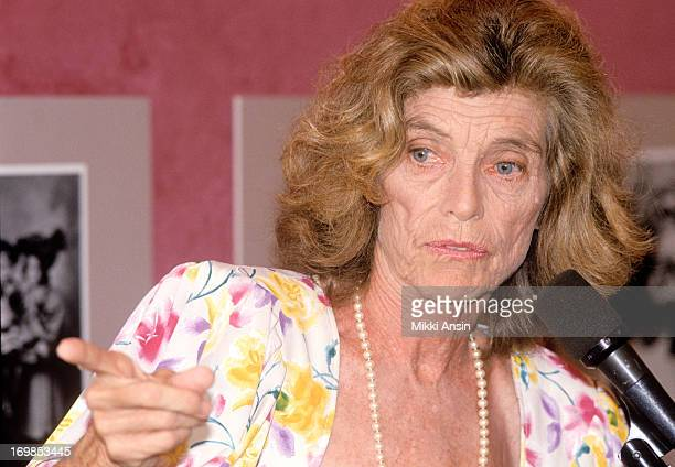 Eunice Kennedy Shriver speaks at the 100th birthday celebration of her mother, Rose Fitzgerald Kennedy, 22nd July 1990.