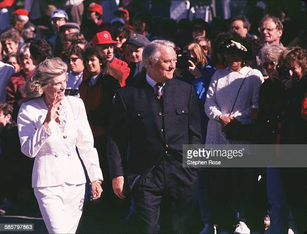 Eunice Kennedy Shriver walks with her husband R Sargent Shriver Jr while attending a wedding on Block Island Rhode Island for Edward Kennedy Jr and...