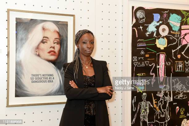 Eunice Olumide MBE, lead curator of TIME, an exclusive charity showcase in support of Pancreatic Cancer UK at a pop-up gallery on March 21, 2019 in...
