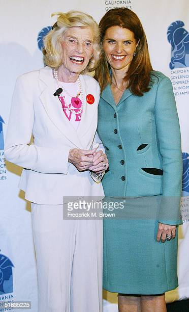 Eunice Shriver and Maria Shriver attend the California Governor's Conference on Women and Families at the Long Beach Convention Center on December 7,...