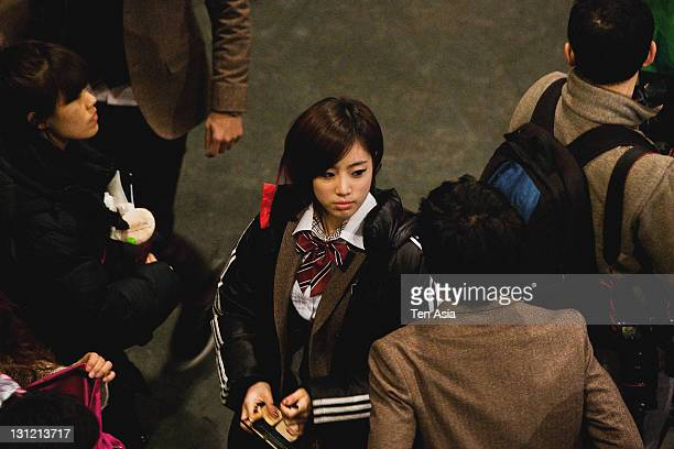 EunJung is seen during the KBS 2TV Drama 'Dream High' filming on January 25 2011 in Gyeonggido South Korea