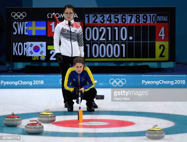 EunJung Kim of Korea and Anna Hasselborg of Sweden during the Women's Gold Medal Game between Sweden and Korea on day sixteen of the PyeongChang 2018...