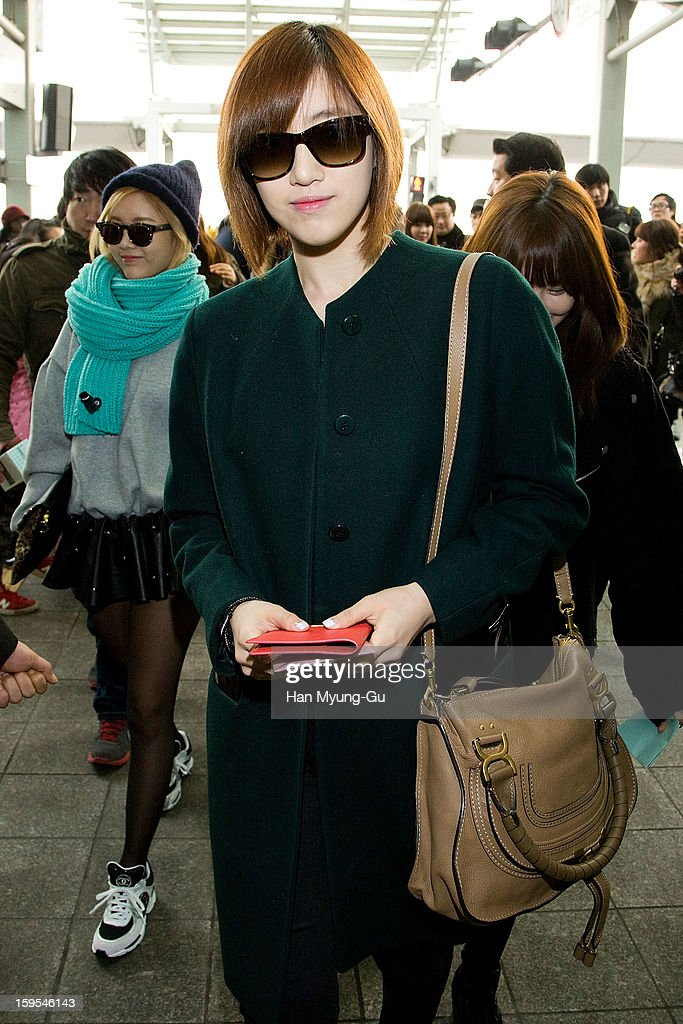 Eunjung (Eun-Jung) of South Korean girl group T-ara is seen at Incheon International Airport on January 15, 2013 in Incheon, South Korea.