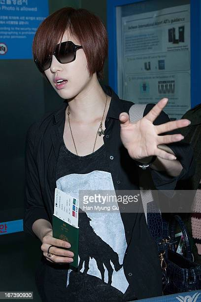 Eunjung of South Korean girl group Tara is seen on departure at Incheon International Airport on April 24 2013 in Incheon South Korea