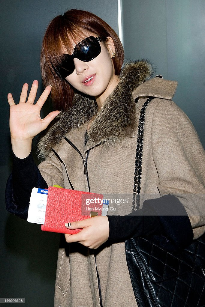 Eun-Jung (Eunjung) of South Korean girl group T-ara is sighted at Incheon International Airport on November 25, 2012 in Incheon, South Korea.