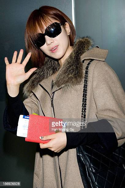 EunJung of South Korean girl group Tara is sighted at Incheon International Airport on November 25 2012 in Incheon South Korea