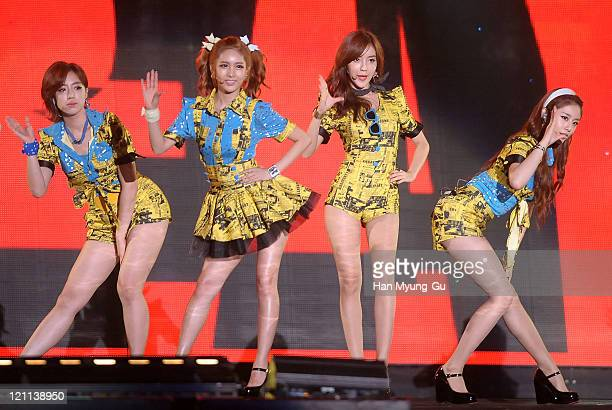 EunJung QRi HyoMin and JiYeon of Tara perform onstage during the Incheon Korean Wave Festival 2011 at Incheon World Cup Stadium on August 13 2011 in...