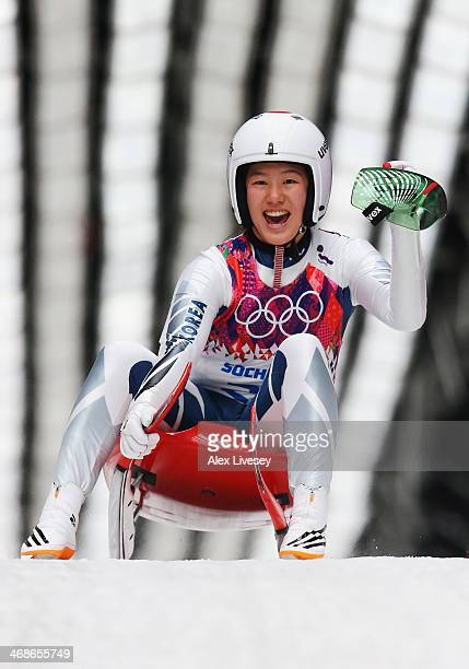Eunryung Sung of Korea celebrates during the Women's Luge Singles on Day 4 of the Sochi 2014 Winter Olympics at Sliding Center Sanki on February 11...