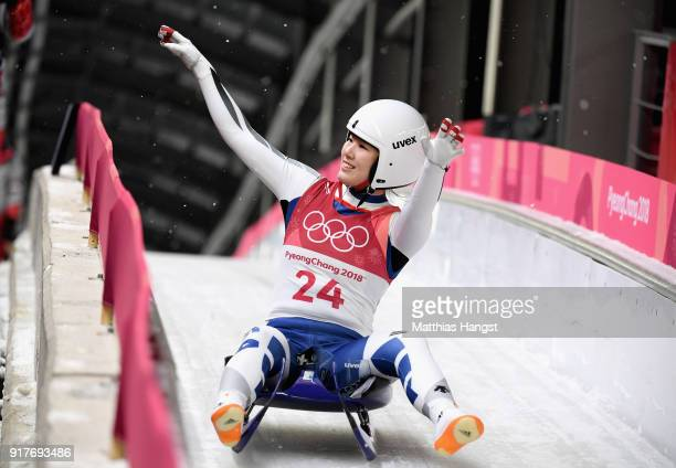 Eunryung Sung of Korea reacts following the Luge Women's Singles run 3 on day four of the PyeongChang 2018 Winter Olympic Games at Olympic Sliding...