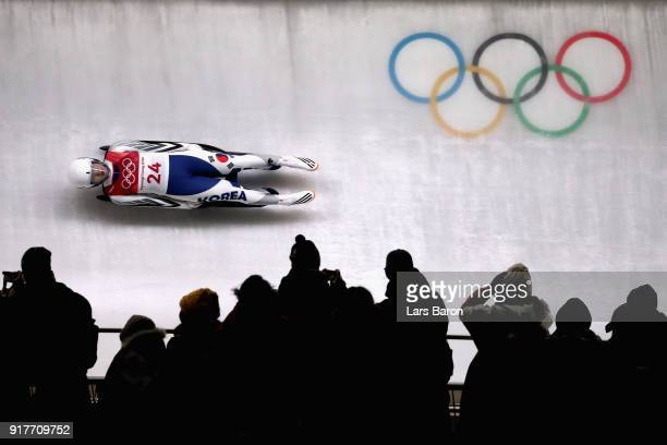 Eunryung Sung of Korea slides during the Luge Women's Singles run 4 on day four of the PyeongChang 2018 Winter Olympic Games at Olympic Sliding...