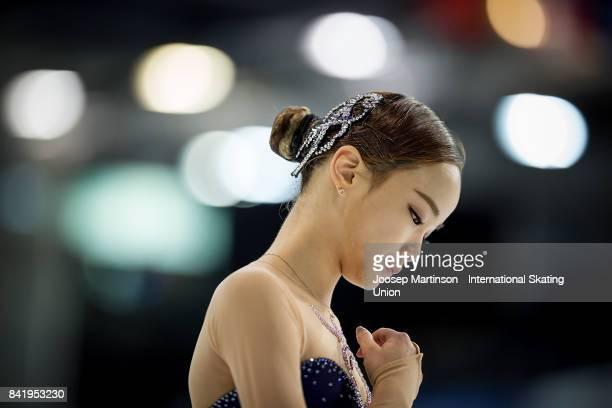 Eunsoo Lim of Korea competes in the Junior Ladies Free Skating on day 3 of the ISU Junior Grand Prix of Figure Skating at Eis Arena Salzburg on...