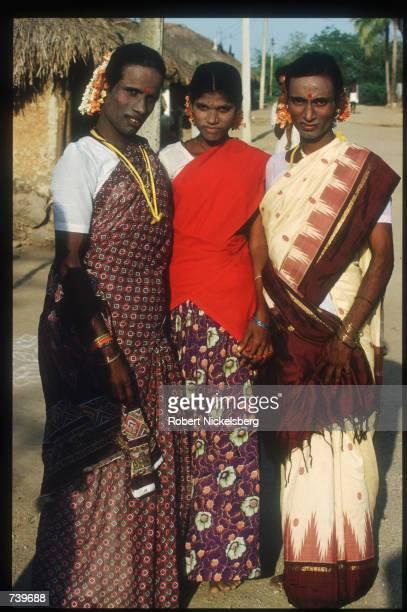 Eunuchs attend the ChittiraiPournami festival April 24 1994 in Villupuram India Eunuchs called hijras are mostly men castrated at puberty were once...