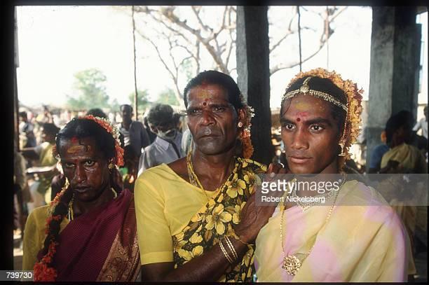 Eunuchs participate in the ChittiraiPournami festival April 24 1994 in Koovagam India Eunuchs called hijras are mostly men castrated at puberty were...