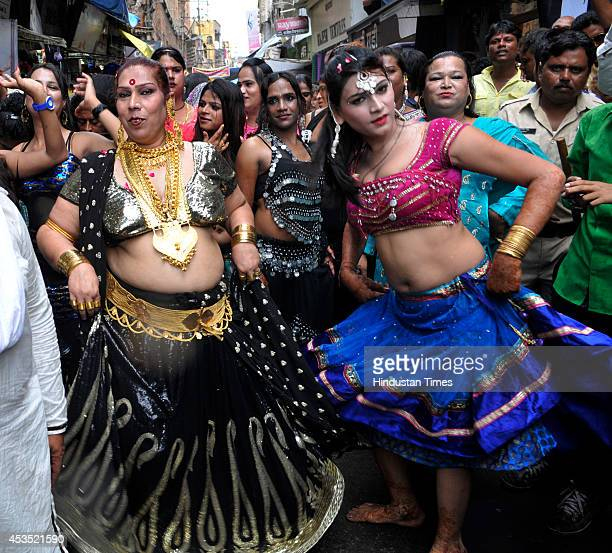 Eunuchs take part in a procession to celebrate Bhujaria festival on August 12, 2014 in Bhopal, India. During Bhujaria festival eunuchs from all over...