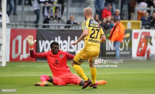 20180428 Eupen Belgium / Kas Eupen v Sporting Lokeren / 'nBabacar NIASSE Robin SODER Goal'nFootball Jupiler Pro League 2017 2018 PlayOff 2 Matchday 6...