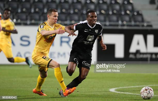 20180428 Eupen Belgium / Kas Eupen v Sporting Lokeren / nJulian MICHEL Mamadou KONEnFootball Jupiler Pro League 2017 2018 PlayOff 2 Matchday 6 /...