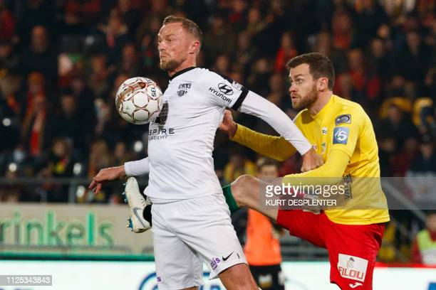 Eupen's David Pollet and Oostende's Nicolas Lombaerts fight for the ball during a soccer game between KV Oostende and KAS Eupen Saturday 16 February...