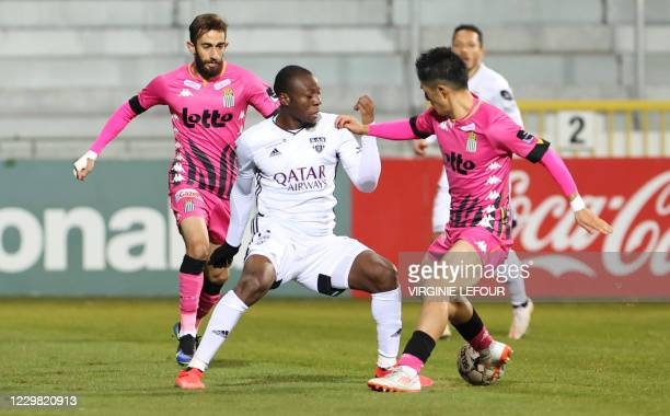 Eupen's Edo Kayembe and Charleroi's Ryota Morioka fight for the ball during a soccer match between KAS Eupen and Sporting Charleroi, Friday 27...