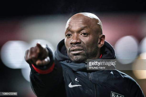 Eupen's head coach Claude Makelele pictured during a soccer match between KAS Eupen and Sporting Lokeren Saturday 19 January 2019 in Eupen on day 22...