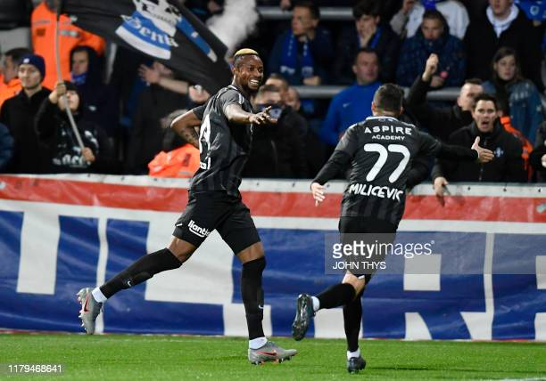 Eupen's Jonathan Bolingi celebrates after scoring during a soccer match between KAS Eupen and KRC Genk Saturday 02 November 2019 in Eupen on day 14...