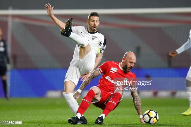 Eupen's Luis Garcia and Antwerp's Jelle Van Damme fight for the ball during a soccer match between Royal Antwerp FC and KAS Eupen Sunday 03 March...