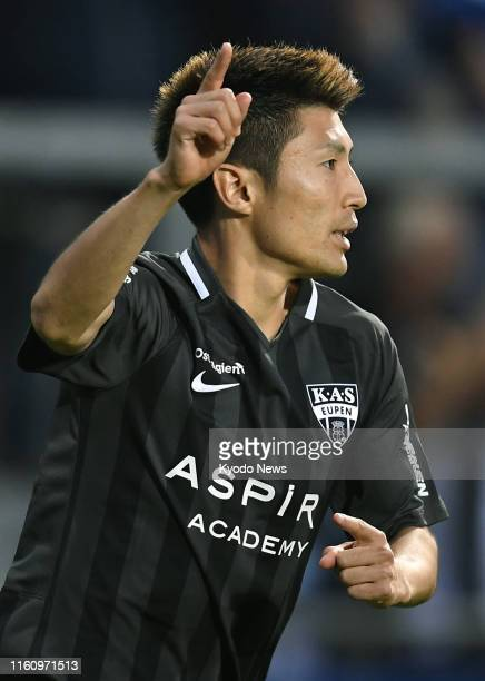 Eupen's Yuta Toyokawa celebrates after scoring during the second half of a Belgian First Division A match against WaaslandBeveren in Eupen on Aug 10...