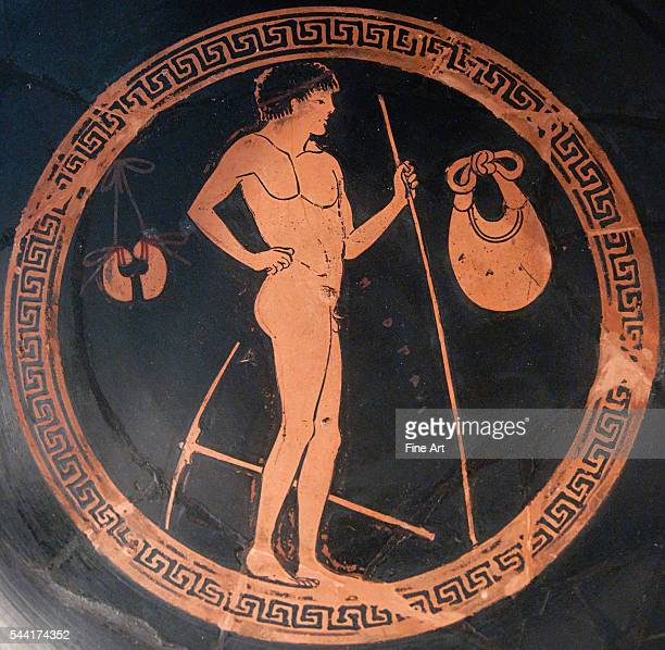 Euphronios Onesimos Gymnasium scene athlete holding a javelin next to him a mattock to soften the soil of the jumping pit jumping weights and a...