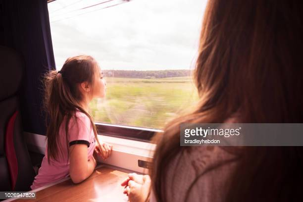 Eurasian girl and Mother enjoying traveling by train in Yorkshire, UK