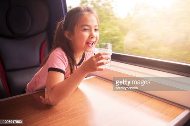 Eurasian girl enjoying traveling by train in Yorkshire, UK