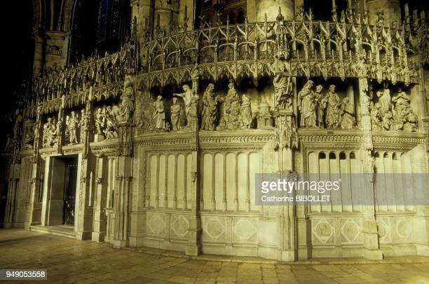 Chartres the cathedral The enclosure of the choir and its sculpted scened surmounted by their baldachins The work was undertaken in 1513 by Jehan de...