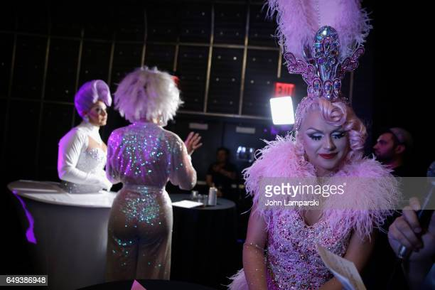 Eureka O'Hara and Farrah Moan attend 'RuPaul's Drag Race' season 9 premiere party meet The Queens Event at PlayStation Theater on March 7 2017 in New...