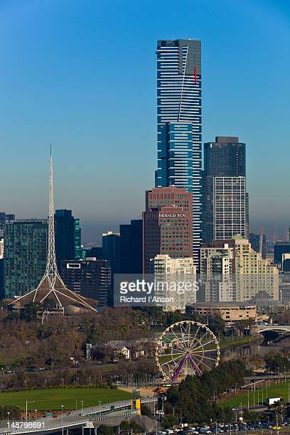 Eureka Tower, Arts Centre Spire and Giant Sky Wheel at Birrarung Marr.