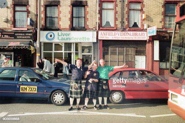 Euro 1996 Football Fans in the streets around Anfield Football Ground Liverpool 12th June 1996 Scottish Football Fans