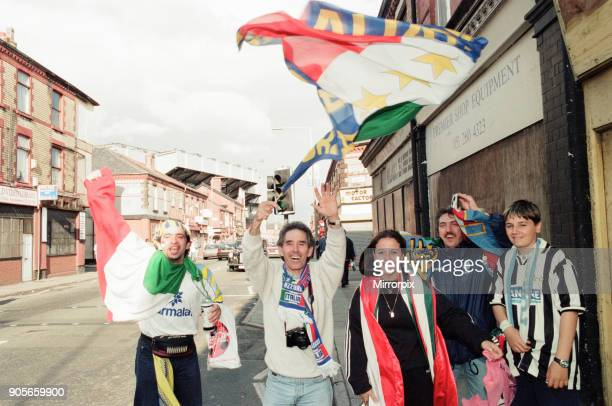 Euro 1996 Football Fans in the streets around Anfield Football Ground Liverpool 12th June 1996 Italian Football Fans
