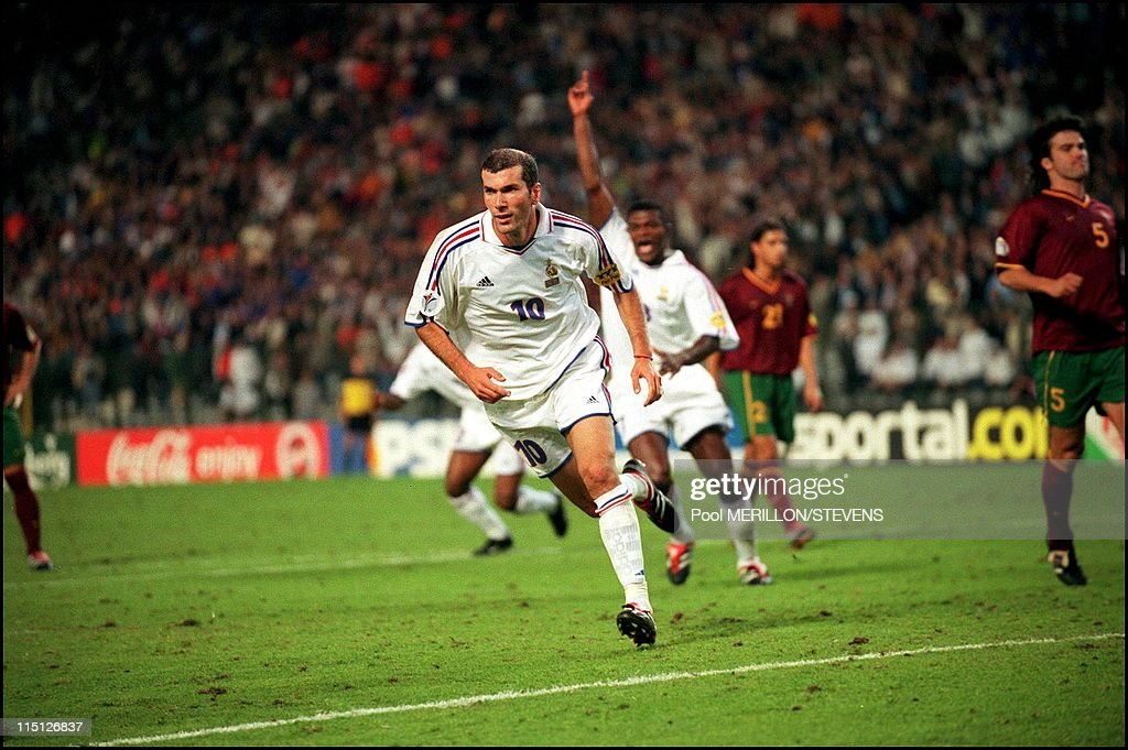 France defeats Portugal 2-1 in the semi final in Brussels, Belgium on June 28, 2000 - Zinedine Zidane.