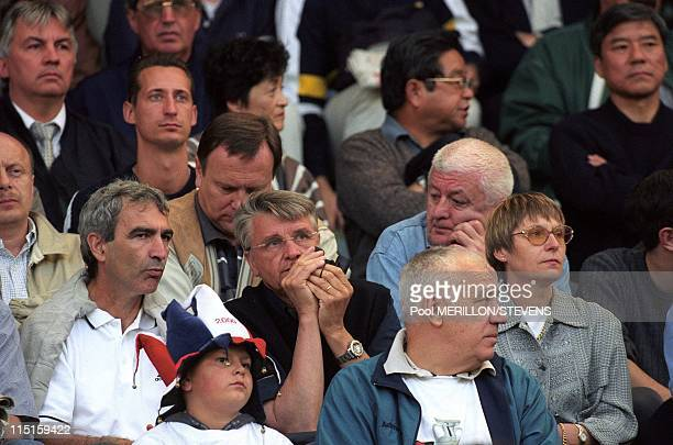 Euro 2000 France defeats Portugal 21 in the semi final in Brussels Belgium on June 28 2000 Aime Jacquet and Raymond Domenech