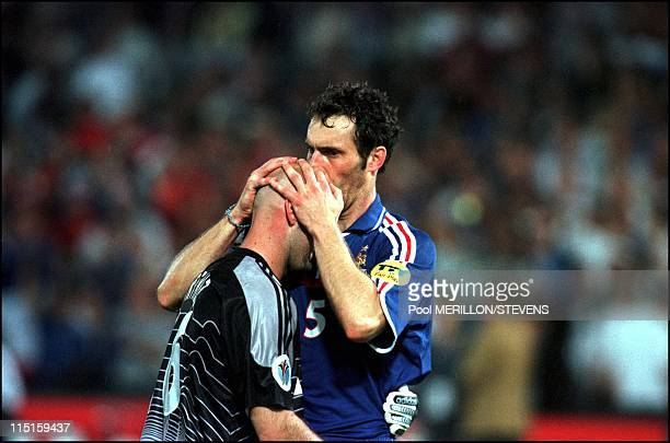 Euro 2000: French team receive the cup in Rotterdam, Netherlands on July 02, 2000 - Blanc and Barthez.