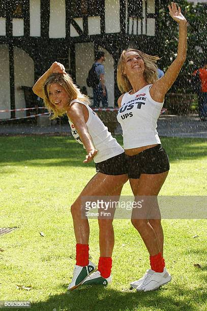Euro 2004 AntiViolence Squad team members Ellie Taylor and Hayley Marie Coppin pose in their uniforms before heading to Portugal on June 11 2004 in...