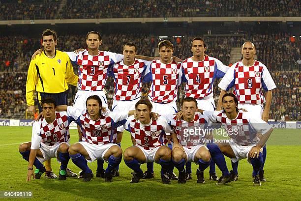 Euro 2004 Qualifying Soccer Game, Belgium vs. Croatia . The Croatian team. Football. Match de qualification pour les championnats d'Europe 2004 ,...