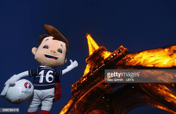 Euro 2016 toy mascot Super Victor is seen at Eiffel Tower on June 5 2016 in Paris France