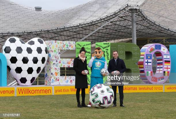 Euro 2020 ambassador and head of DFB Euro GmbH Philipp Lahm and Celia Sasic Germany's former national football player and special advisor of the DFB...
