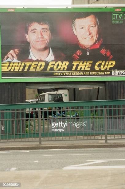 Euro 96 Billboard featuring Kevin Keegan Newcastle United and Alex Ferguson Manchester United managers respectively Slogan United For The Cup...