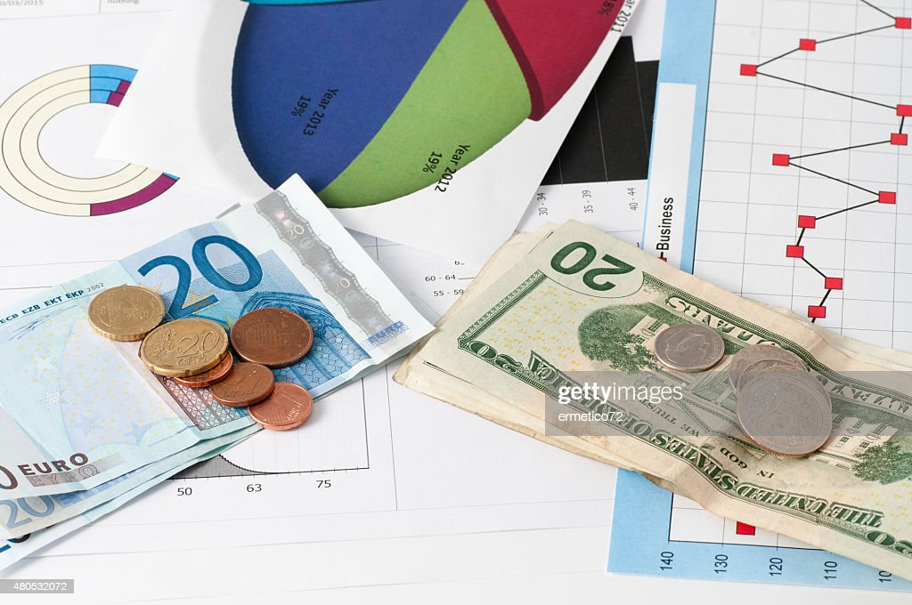 euro against the dollar : Stock Photo