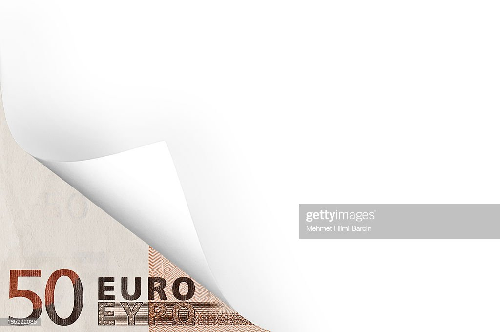 Euro and page curl : Stock Photo