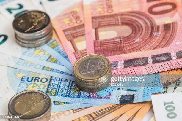 Euro bank notes euro coins are arranged for a photograph on 11 September 2017 in Hong Kong Hong Kong Photo by