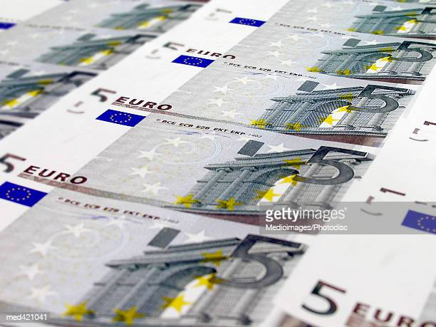 euro bank notes - five euro banknote stock photos and pictures