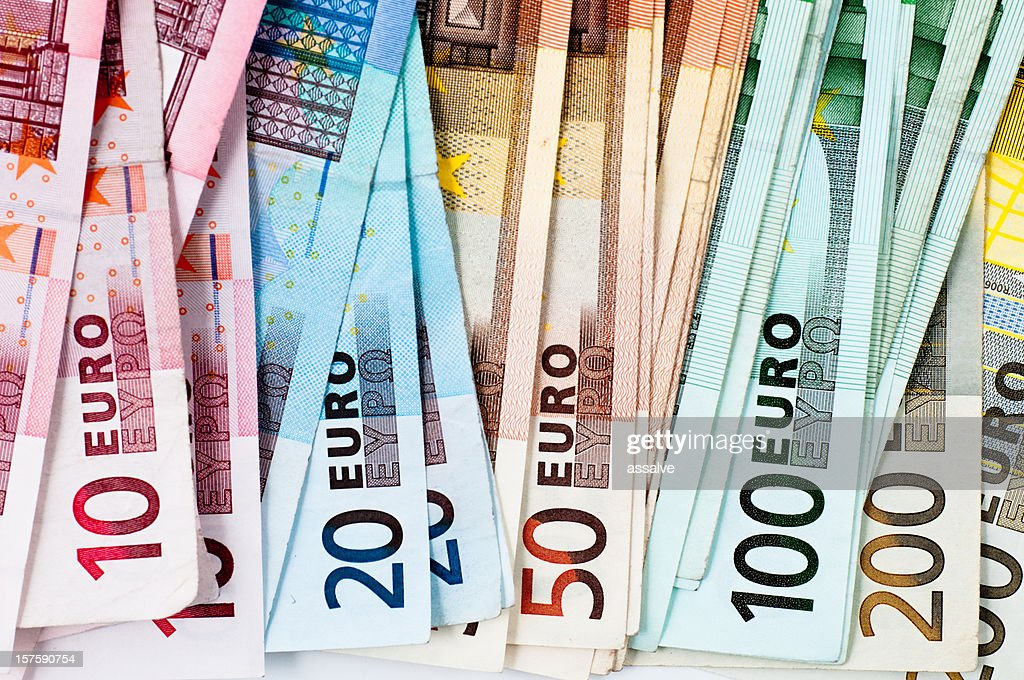 euro banknotes in a row : Stock Photo