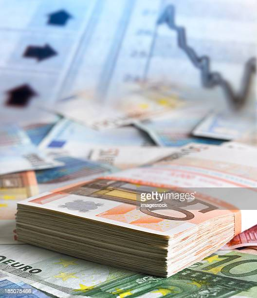 Euro banknotes on financial indicators
