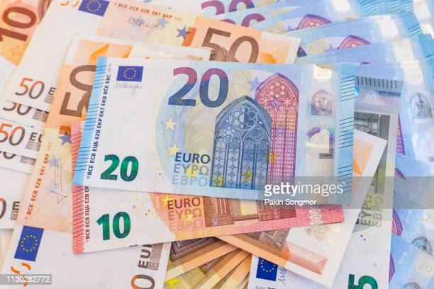 euro banknotes - currency symbol stock pictures, royalty-free photos & images